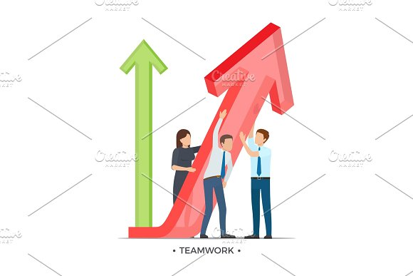Teamwork And Growth On Vector Illustration White