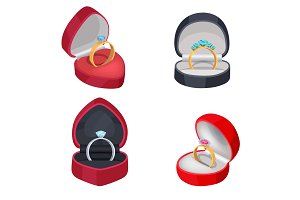 Four Rings with Precious Stones in Gift Boxes