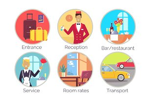 Entrance & Reception, Service Vector Illustration
