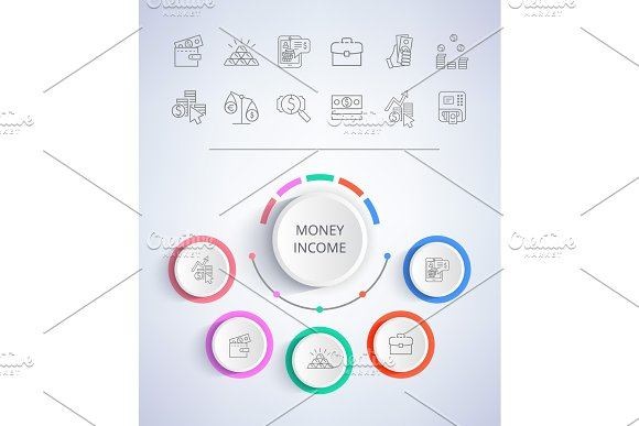 Money Income E-commerce Web Buttons Business
