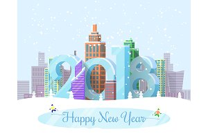 Happy New Year Snowy City Vector Illustration