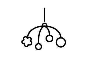 Baby crib hanging toy icon line