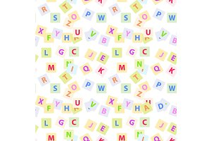 Seamless Pattern with English Alphabet Letters