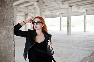 Red haired stylish girl