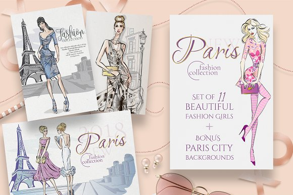 Set Of 11 Fashion Girls In Paris