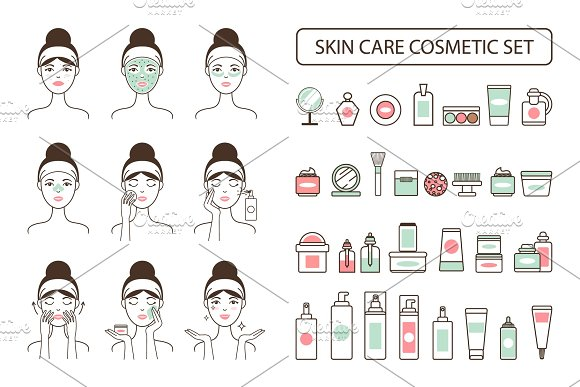 Skin Care Cosmetic Set On Promo Poster With Woman