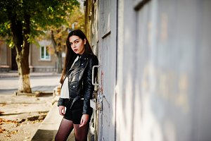girl wear on leather jacket