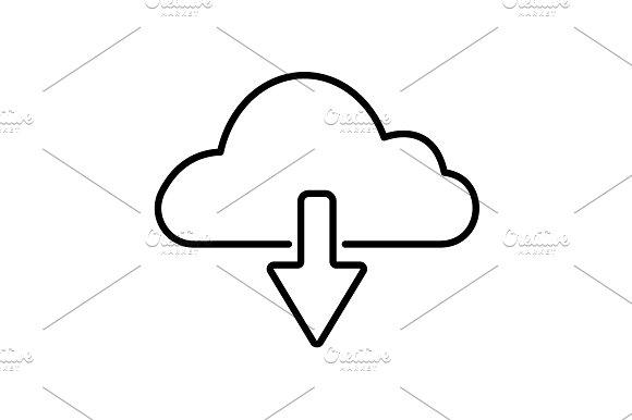 Cloud Download Line Icon Black
