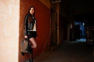 girl wear on leather jacket