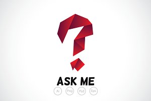 Paper Question Mark Logo Template