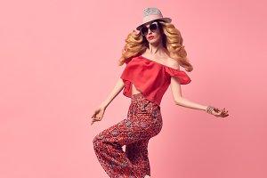 Fashion Beautiful Woman Jumping