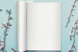 Mock-up of open magazine
