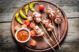 Grilled bacon skewers