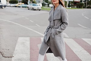Girl in gray coat