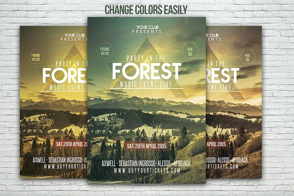 forest party festival flyer template flyer templates creative market
