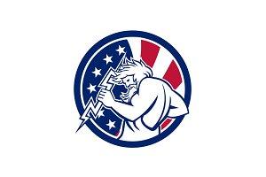 Zeus With Thunderbolt USA Flag Icon