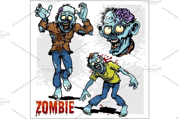 Zombie Comic Set Cartoon Zombie