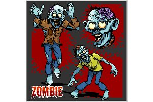 Zombie Comic Set - Cartoon zombie.
