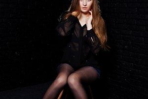 Studio shot of brunette girl