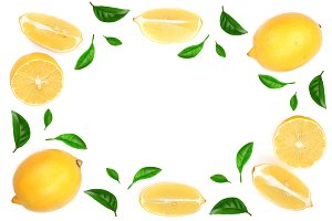frame of lemon with leaves isolated on white background with copy space for your text. Flat lay, top view