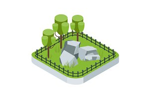 isometric garden with tree