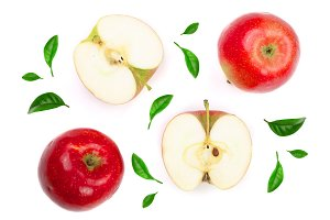 red apples with slices decorated with green leaves isolated on white background top view. Flat lay pattern