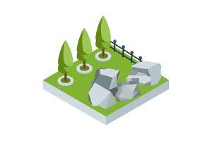 isometric stone garden
