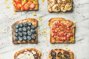 Vegan toasts with fruit, seeds, nuts