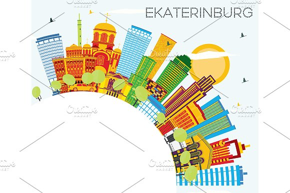 Ekaterinburg Skyline With Color