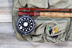 Trout fishing equipment on fishing v