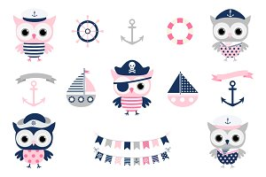 Cute Nautical Pirate Owl Clipart Set