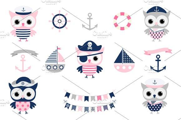 Cute Nautical Pirate Owl Clipart Set