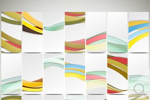 Abstract wavy flyers and headers set