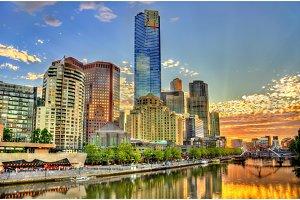 Sunset over the Yarra River in Melbourne, Australia