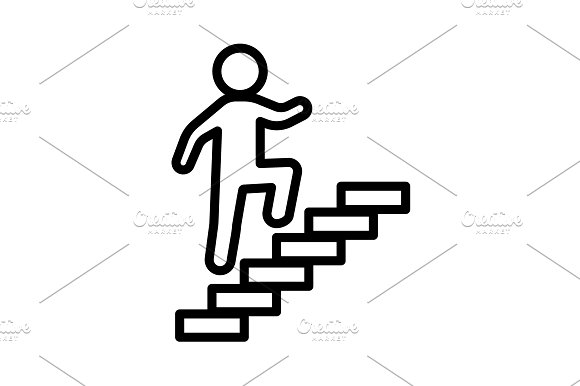 Walk Up Stairs Symbol Vector