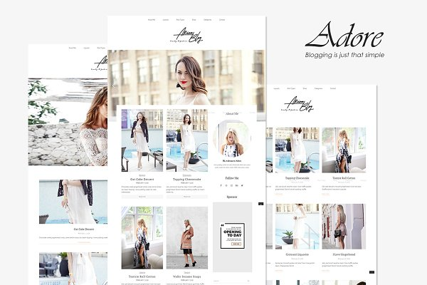 WordPress Blog Themes: Brickthemes - Adore - Beauty Fashion Blog Theme