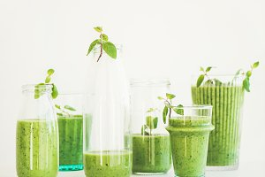 Matcha green smoothie with chia seeds and fresh mint
