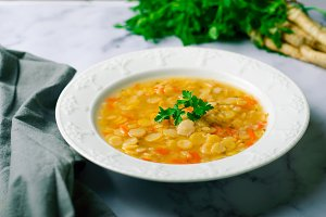 Pea Soup, Vegetarian and Vegan Pea Soup
