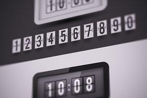 Flap type clock. Numbers set.