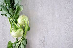 Kohlrabis copy space background