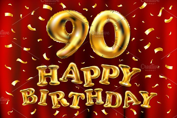 Happy Birthday 90 Balloons Gold