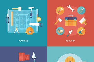 Construction and building icons set