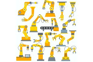 Robot arm vector robotic machine hand indusrial equipment in manufacture illustration set of engineer character of robotechnic in industry isolated on white background