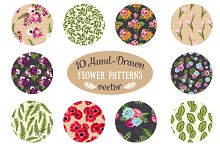 10 vector seamless floral pattern
