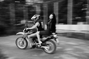 riding a motorbike