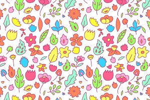 Childish colorful flowers pattern