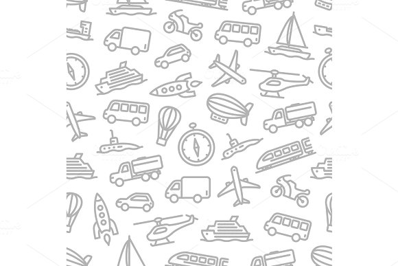 Transport Seamless Pattern For Travel Design