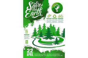 Earth Day banner with green tree and eco icon
