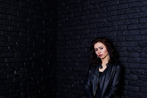 Studio portrait of brunette girl