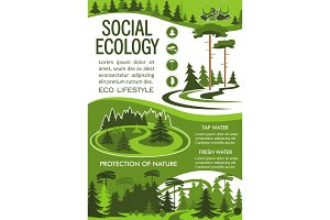 Nature resource conservation banner for eco design